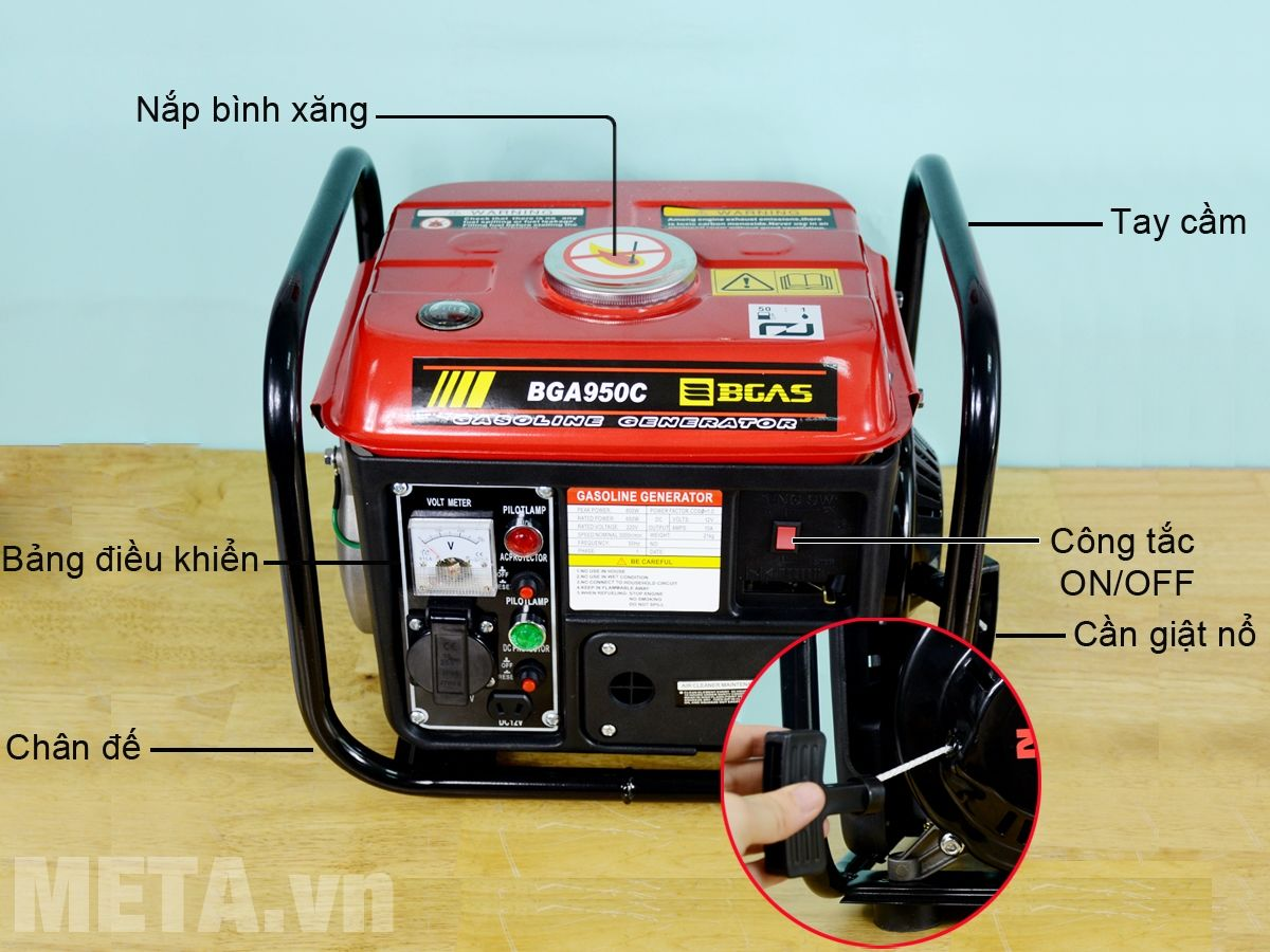 Cấu tạo máy phát điện chạy bằng nhiên liệu xăng