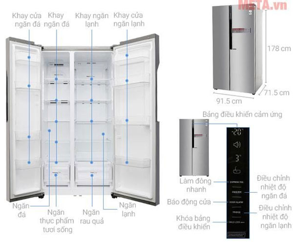Thiết kế chi tiết của các bộ phận tủ lạnh LG side by side