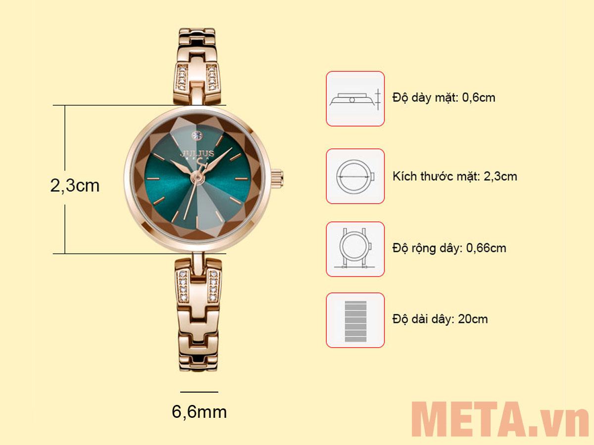 Các kích thước của đồng hồ Julius JA-1103