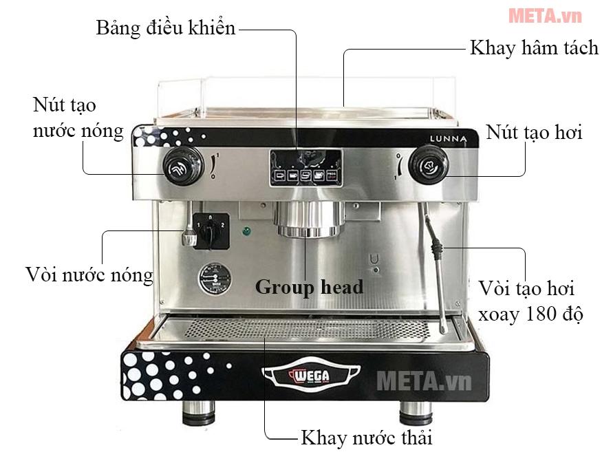 Cấu tạo máy pha cà phê chuyên nghiệp Wega Lunna EVD 1GR