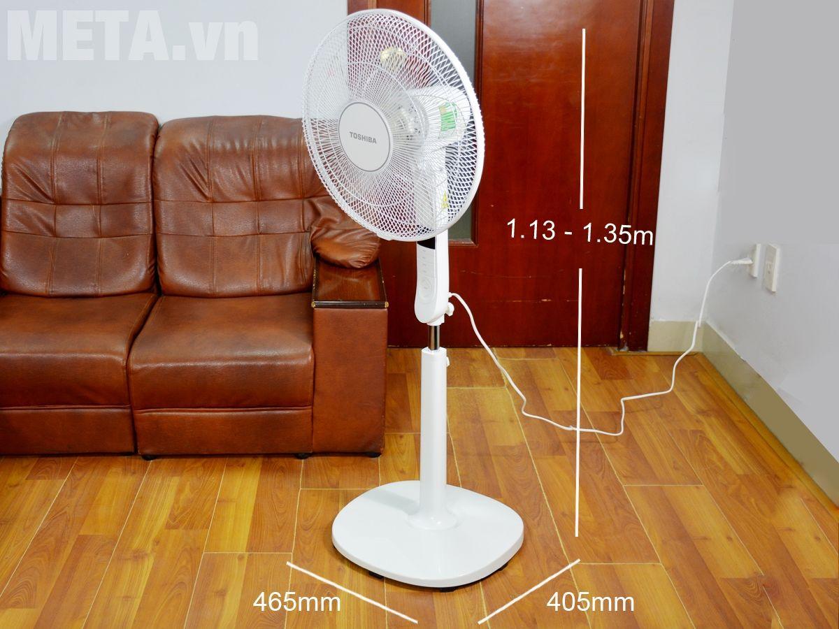 Kích thước quạt cây Toshiba F-LSA20(W)VN