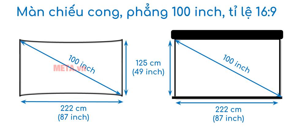 Kích thước màn chiếu cong, phẳng 100 inch tỉ lệ 16:9
