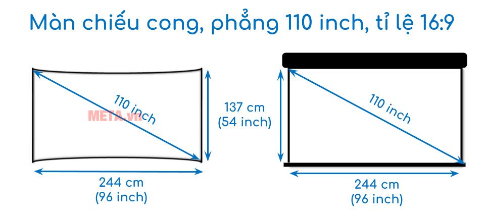 Kích thước màn chiếu cong, phẳng 110 inch tỉ lệ 16:9