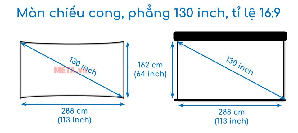 Kích thước màn chiếu cong, phẳng 130 inch tỉ lệ 16:9