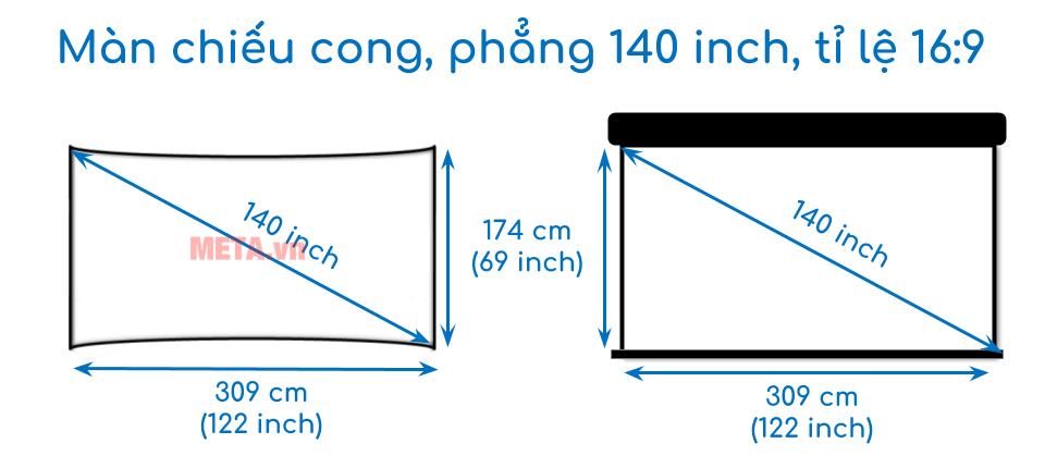 Kích thước màn chiếu cong, phẳng 140 inch tỉ lệ 16:9