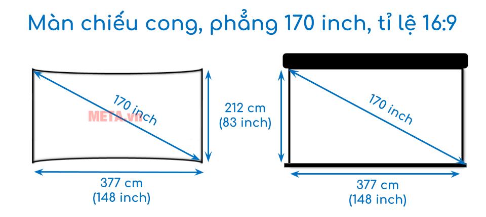 Kích thước màn chiếu cong, phẳng 170 inch tỉ lệ 16:9