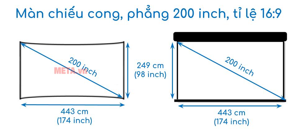 Kích thước màn chiếu cong, phẳng 200 inch tỉ lệ 16:9