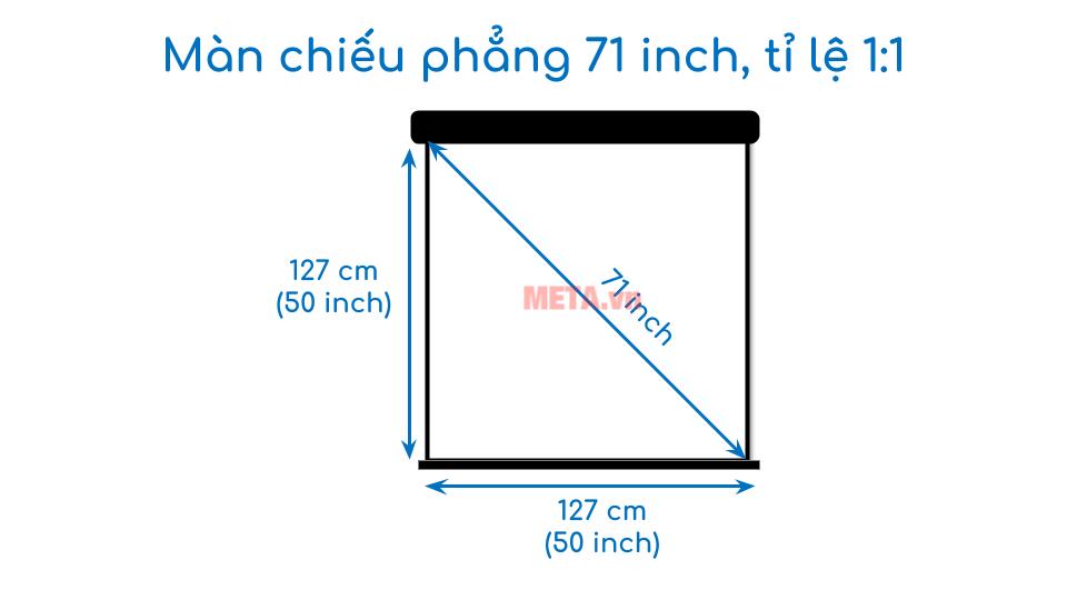 Kích thước màn chiếu phẳng 71 inch tỉ lệ 1:1