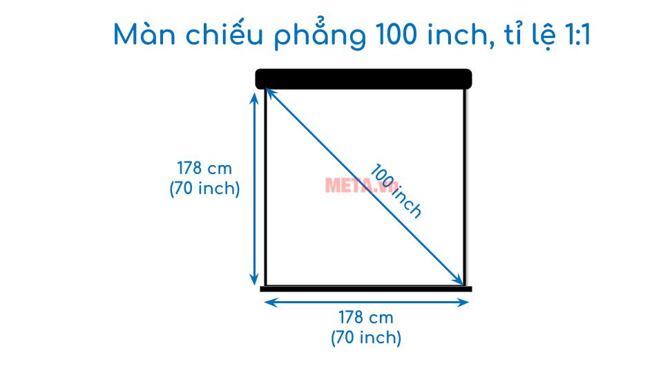 Kích thước màn chiếu phẳng 100 inch tỉ lệ 1:1