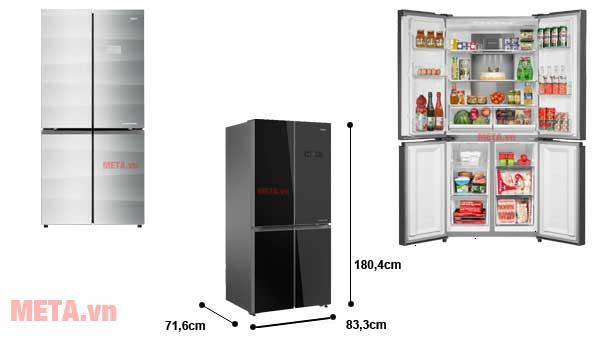 Kích thước tủ lạnh 4 cánh