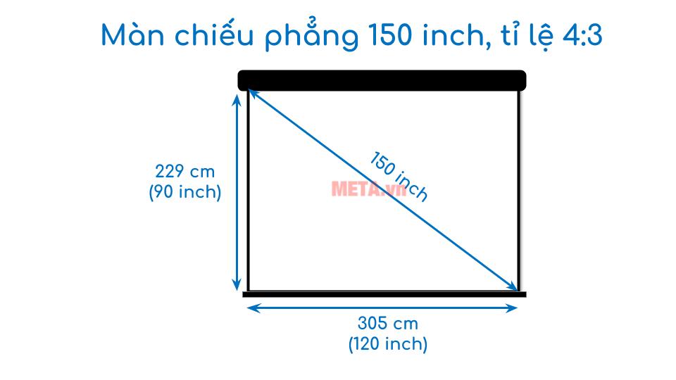 Kích thước màn chiếu phẳng 150 inch tỉ lệ 4:3