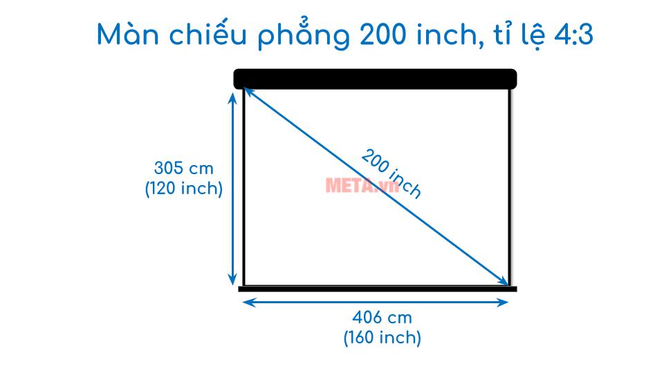 Kích thước màn chiếu phẳng 200 inch tỉ lệ 4:3