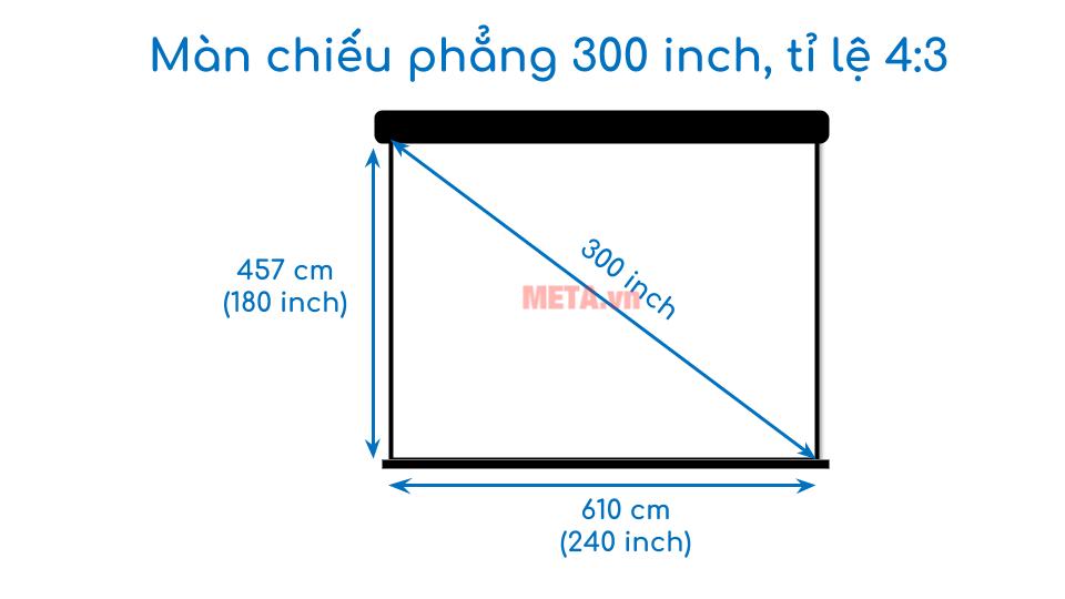 Kích thước màn chiếu phẳng 300 inch tỉ lệ 4:3