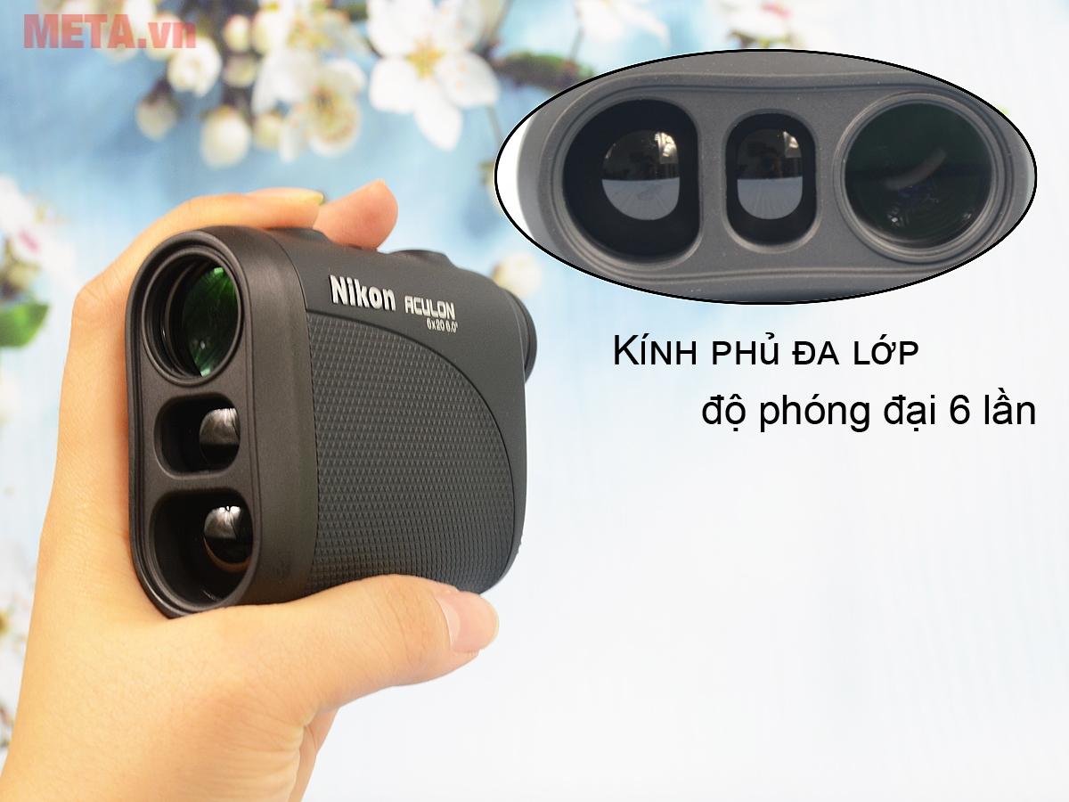 Ống nhòm đo khoảng cách Nikon Aculon AL11 cầm vừa vặn tay.