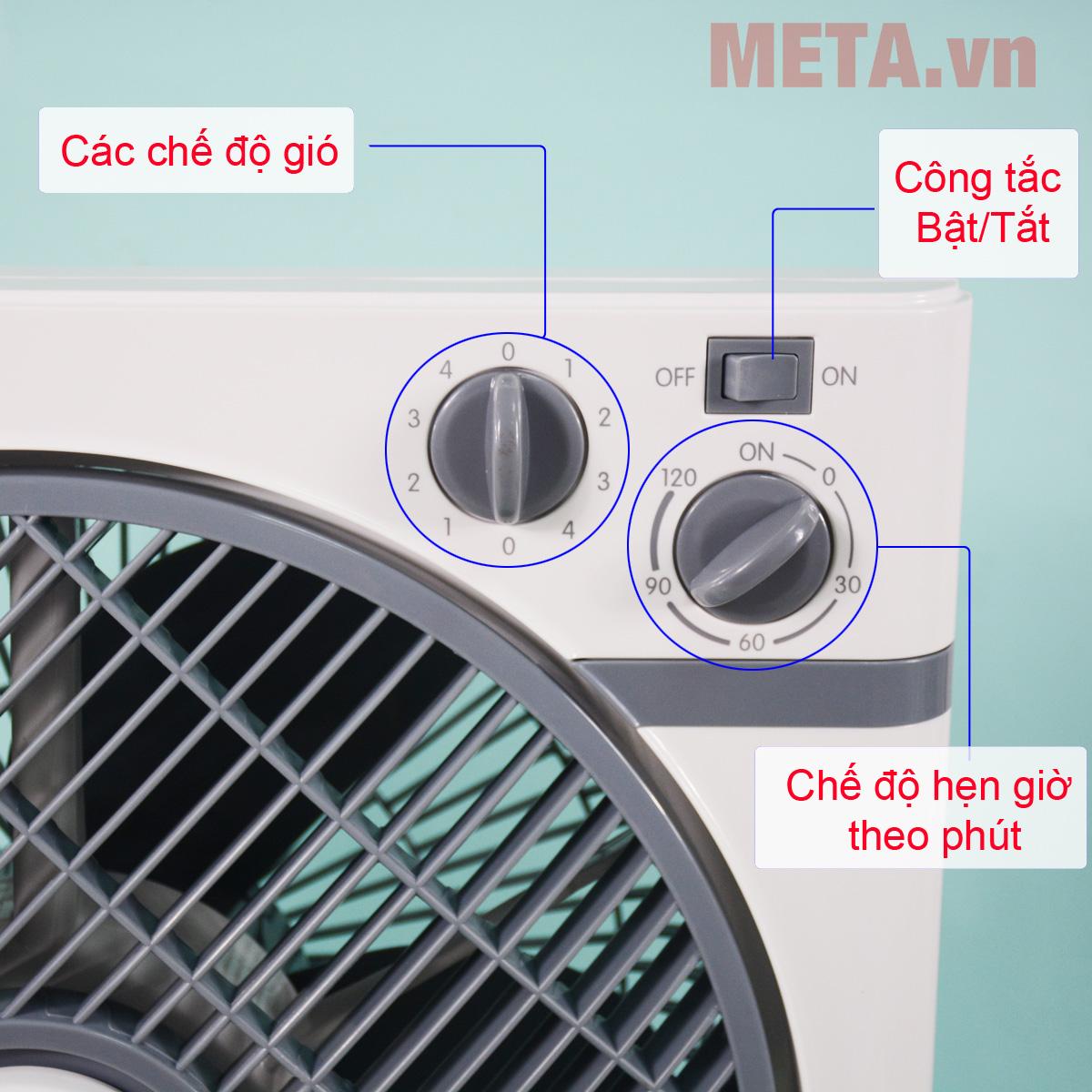 Quạt hộp Midea KYT30-15A điều chỉnh tốc độ gió và hẹn giờ bằng núm vặn