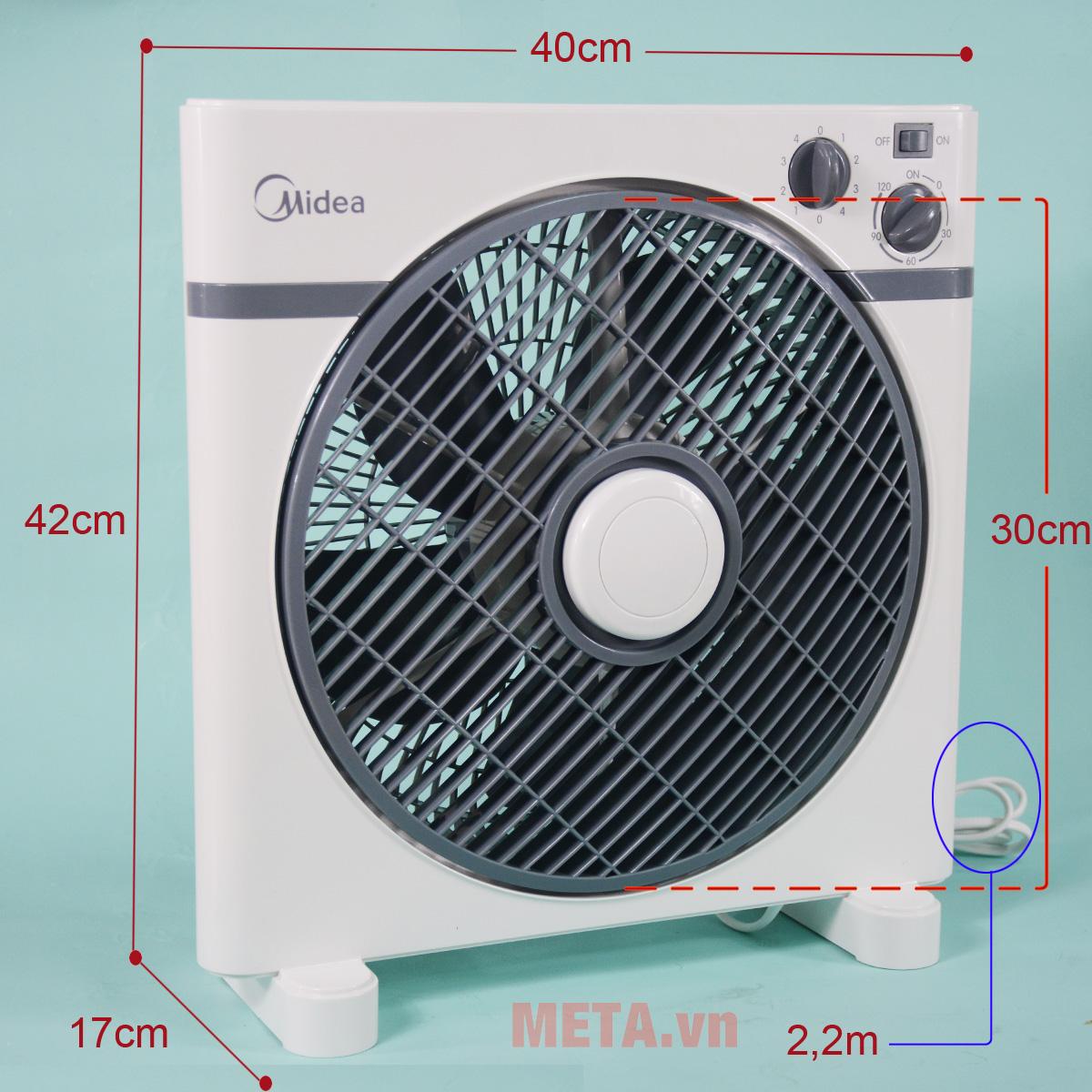 Quạt hộp Midea KYT30-15A được làm bằng nhựa cao cấp
