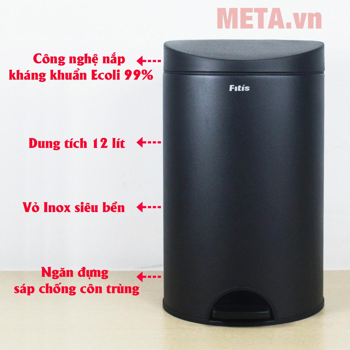 Thùng rác inox Fitis RPS1-903 mở nắp bằng cách đạp chân