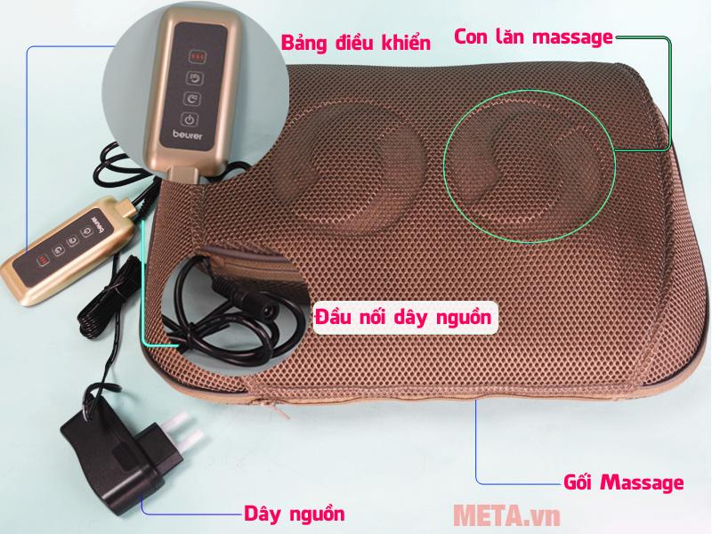 Gối massage có đèn hồng ngoại Beurer MG147 thiết kế vô cùng thoáng khí