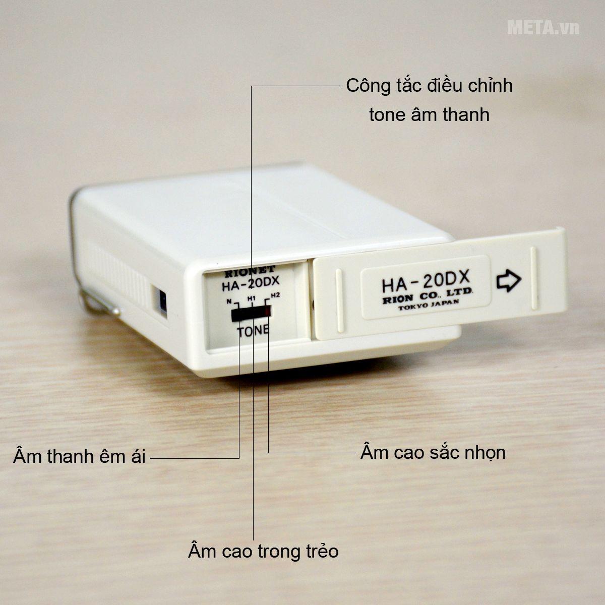 Cấu tạo máy trợ thính dây đeo Rionet HA-20Dx