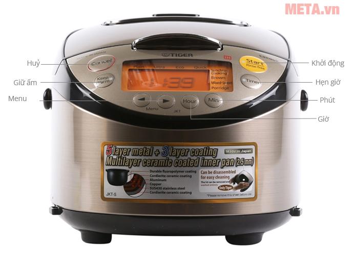 Nồi cơm điện tử cao tần Tiger JKT-S18W 1.8 lít thiết kế sang trọng, dễ sử dụng