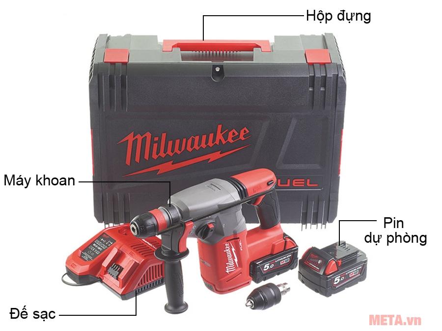 Trọn bộ sản phẩm máy khoan búa Milwaukee M18 CHX-502C