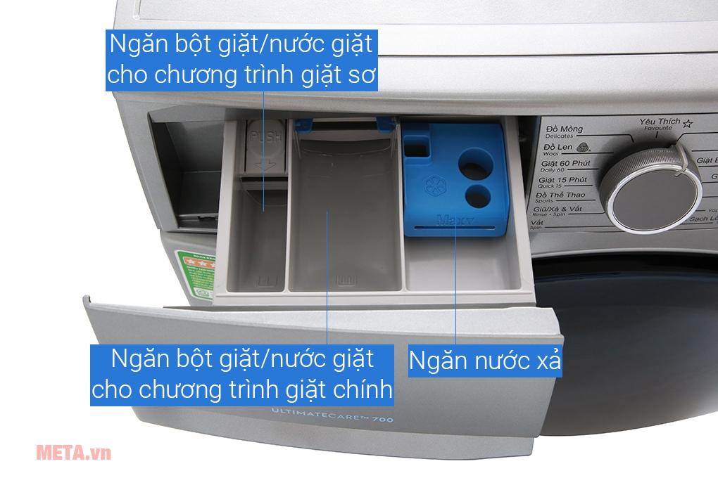 Máy giặt có khay chứa nước giặt và nước xả riêng biệt
