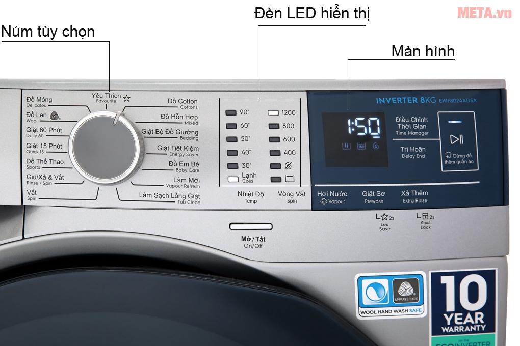 Bảng điều khiển với các chức năng giặt giũ