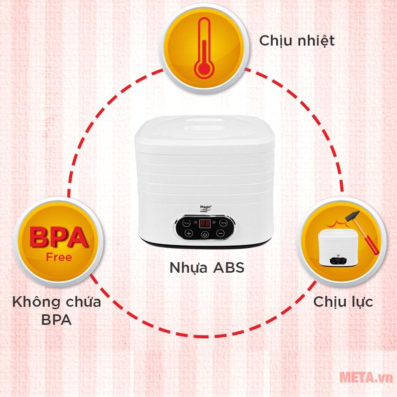 Chất liệu nhựa ABS chịu lực, chịu nhiệt tốt, không chứa BPA