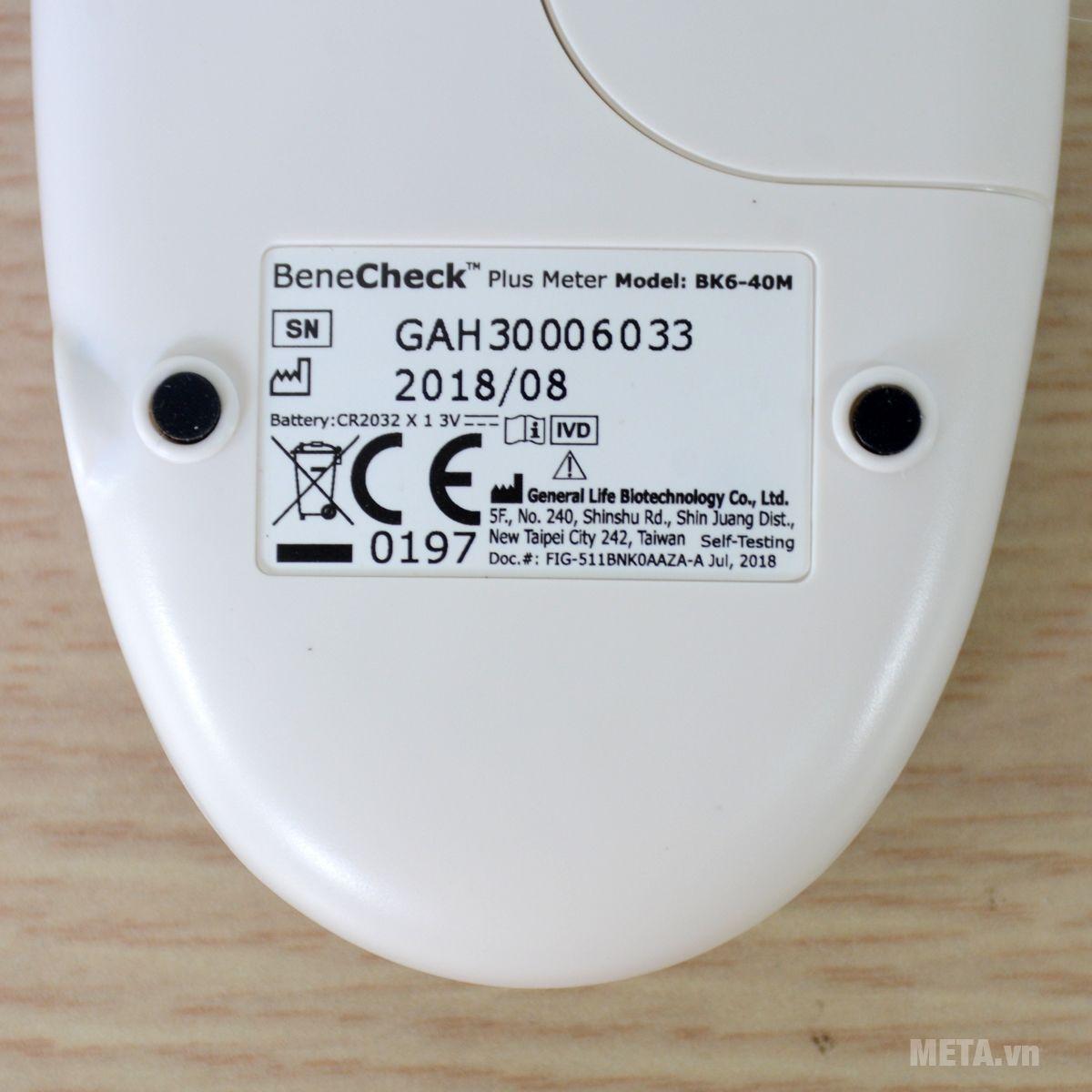 Một số thông số của máy đo đường huyết 3 trong 1 Benecheck Plus