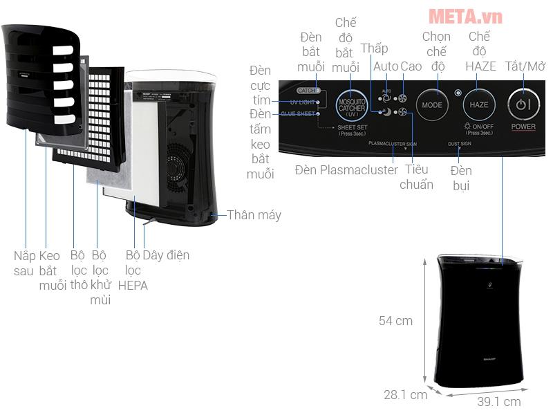 Máy lọc không khí và bắt muỗi Sharp FP-FM40E-B có khả năng làm giảm mùi hôi từ khói thuốc lá, mùi cơ thể