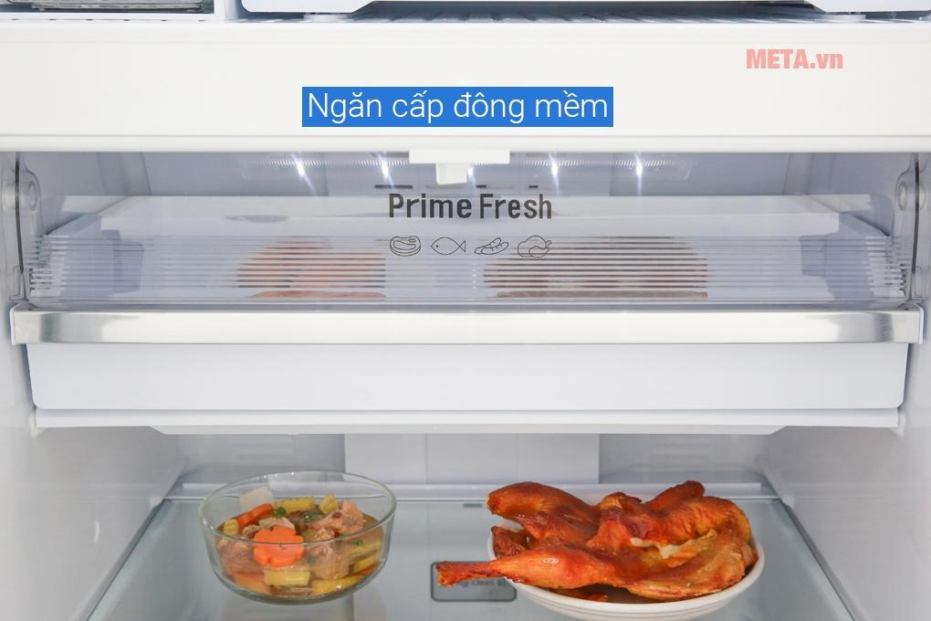 Ở nhiệt độ -3 độ C, ngăn cấp đông mềm sẽ giúp đông lạnh bề mặt thịt, cá