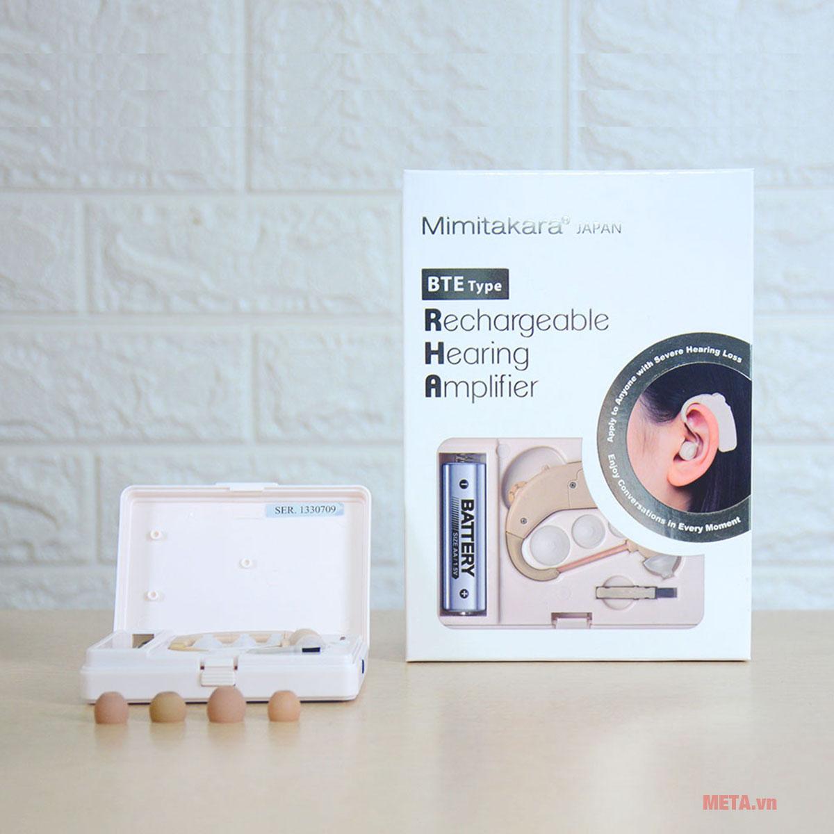 Máy trợ thính không dây Mimitakara UP-64K trang bị phụ kiện đi kèm