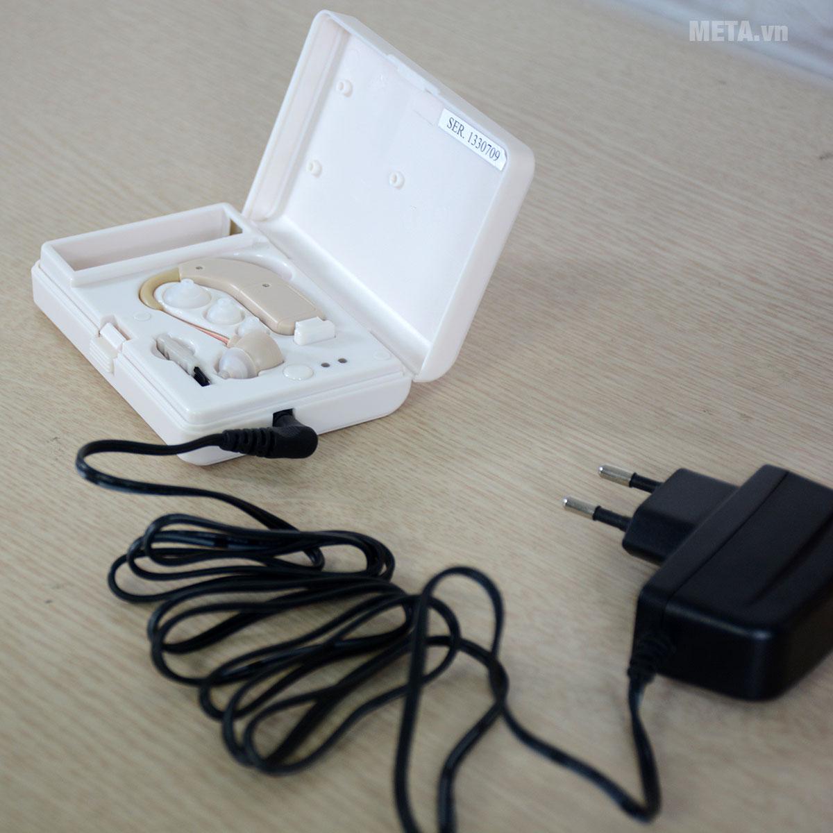 Máy trợ thính không dây Mimitakara UP-64K được trang bị bộ sạc Adapter