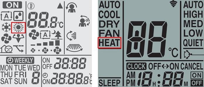 Chế độ HEAT được thể hiện trên điều khiển điều hòa bằng biểu tượng mặt trời hoặc bằng chữ.