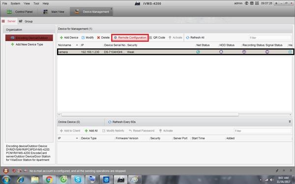 Đổi mật khẩu thông qua tùy chọn Remote Configuration của tab Server