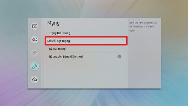 Mở cài đặt mạng trên tivi Samsung