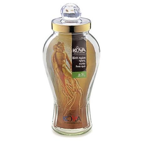 Bình ngâm rượu, nước hoa quả Kova 2,7 lít BNR2.7