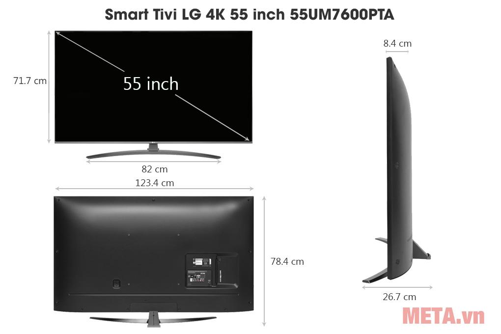 Kích thước Smart Tivi LG 4K 55 inch 55UM7600PTA