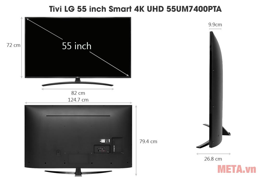 Kích thước Tivi LG 55 inch Smart 4K UHD 55UM7400PTA