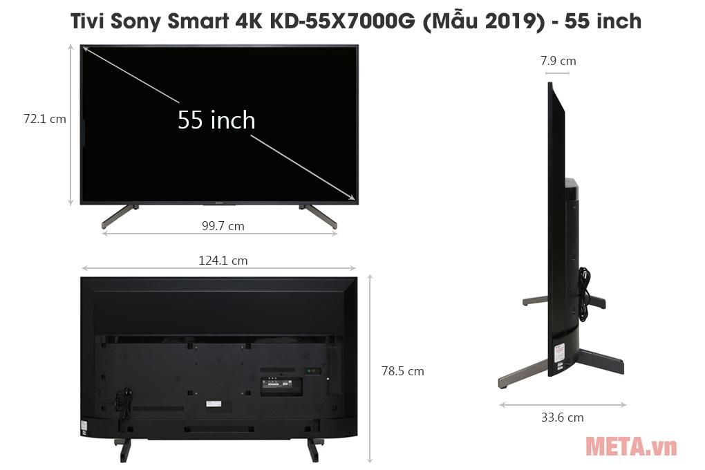 Kích thước Tivi Sony Smart 4K KD-55X7000G (Mẫu 2019) - 55 inch
