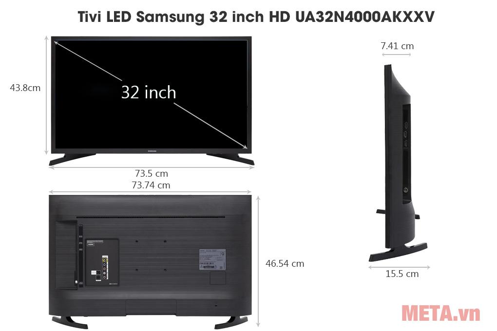 Kích thước Tivi LED Samsung 32 inch HD UA32N4000AKXXV