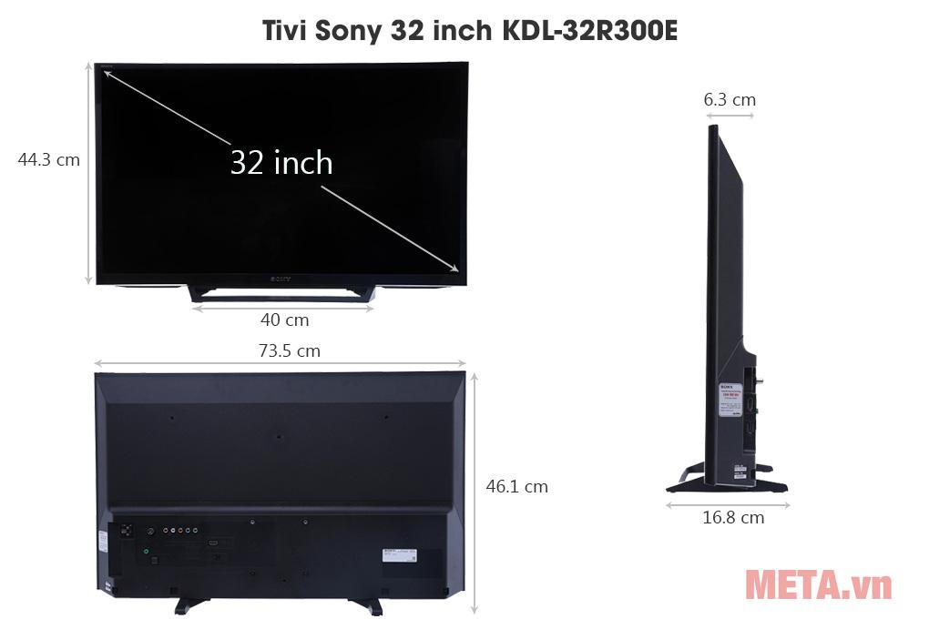 Kích thước Tivi Sony 32 inch KDL-32R300E