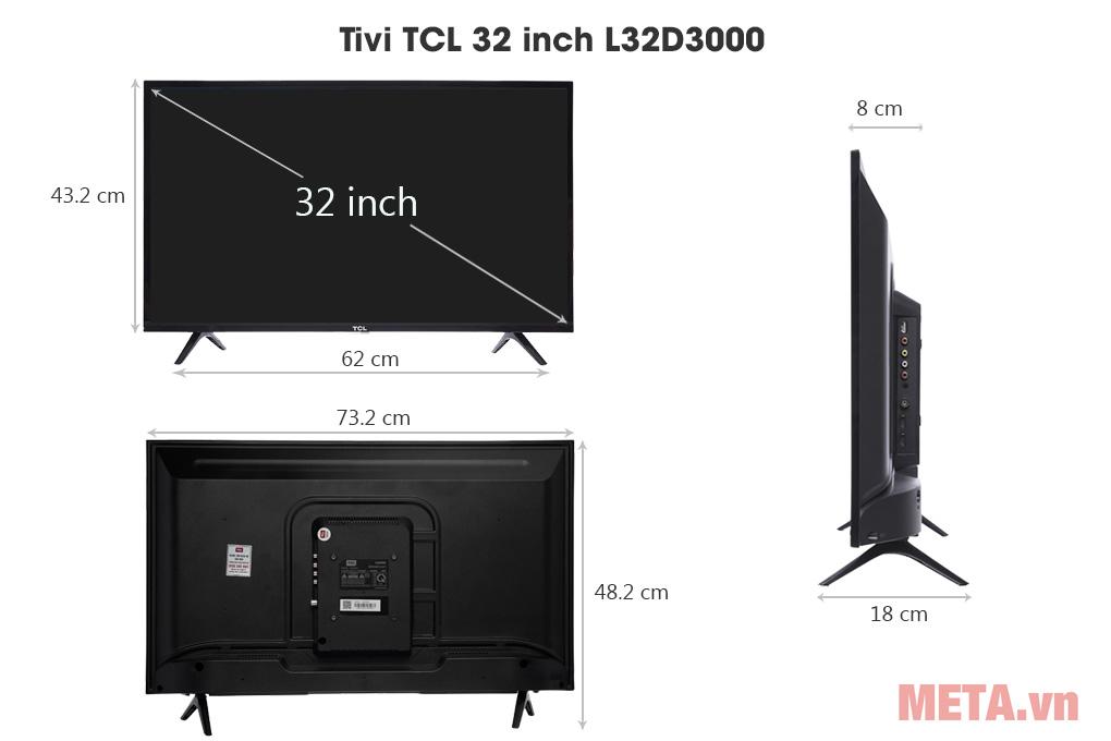 Kích thước Tivi TCL 32 inch L32D3000