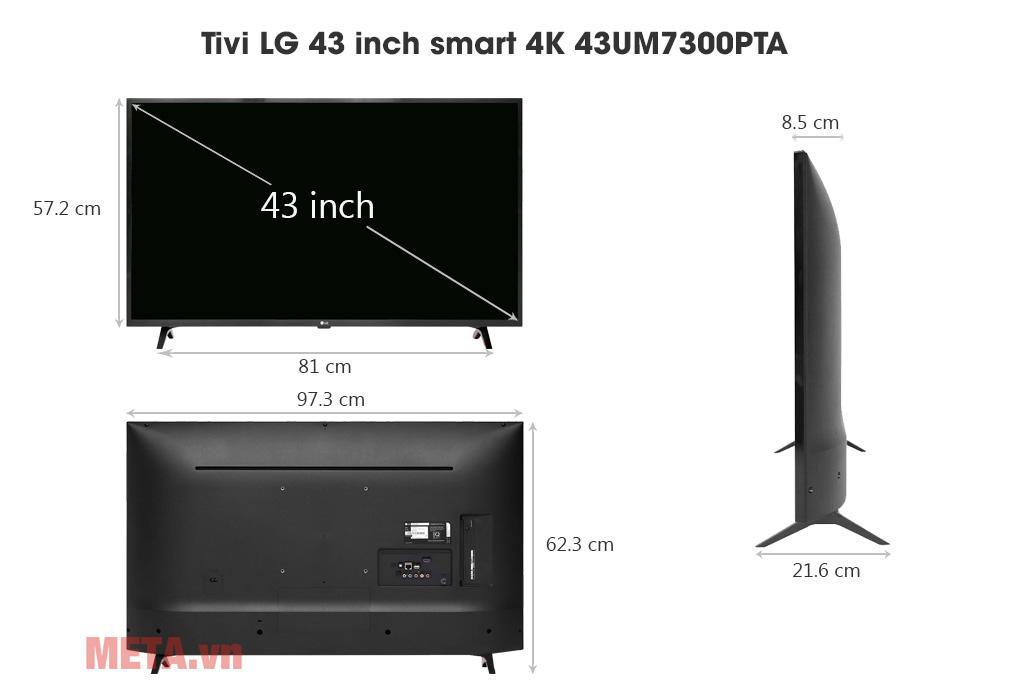 Kích thước Tivi LG 43 inch smart 4K 43UM7300PTA