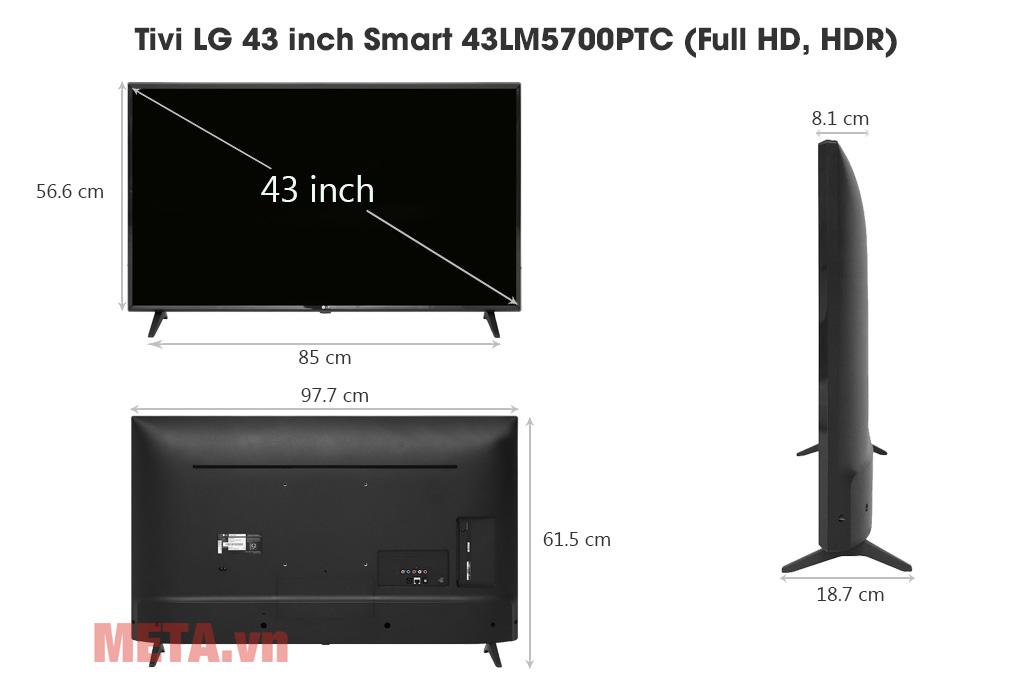 Kích thước Tivi LG 43 inch Smart 43LM5700PTC (Full HD, HDR)