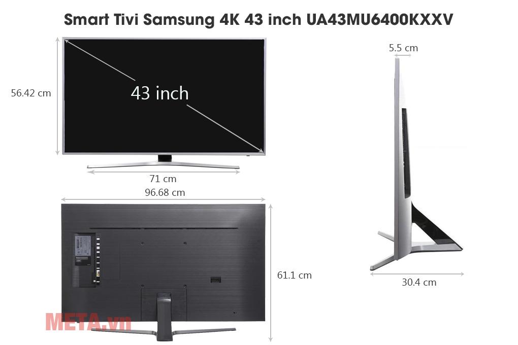 Kích thước Smart Tivi Samsung 4K 43 inch UA43MU6400KXXV