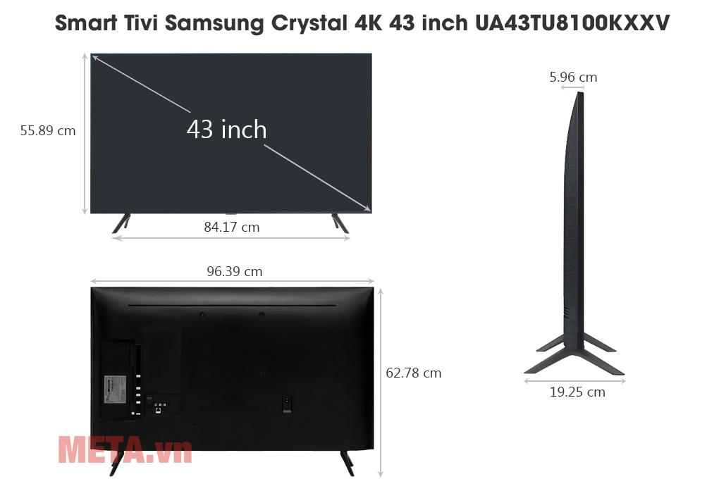 Kích thước Smart Tivi Samsung Crystal 4K 43 inch UA43TU8100KXXV