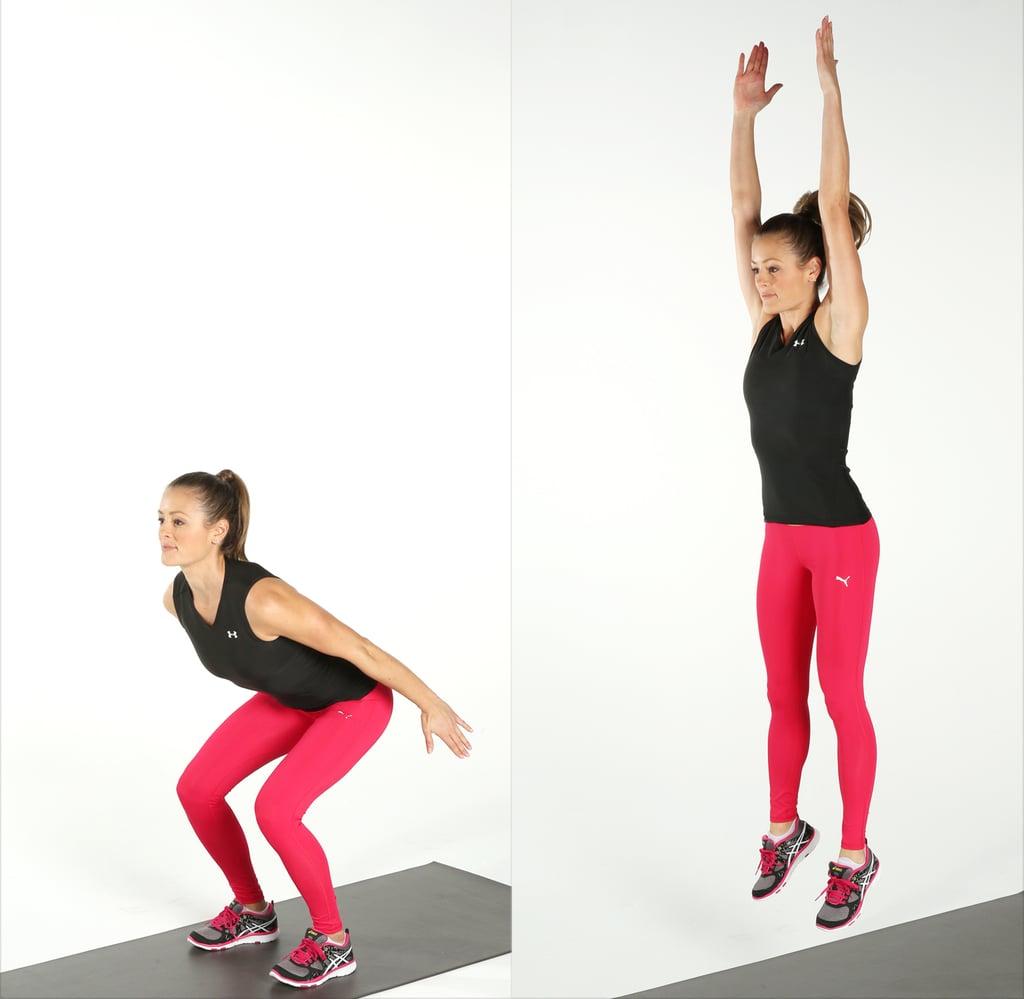 Động tác squat giảm mỡ bụng bật nhảy