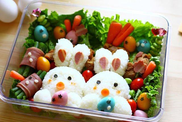 Hộp Bento hình 2 chú thỏ cho bé