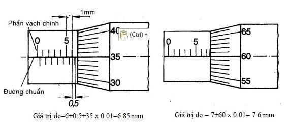 Cách đọc trị số đo trên thước Panme